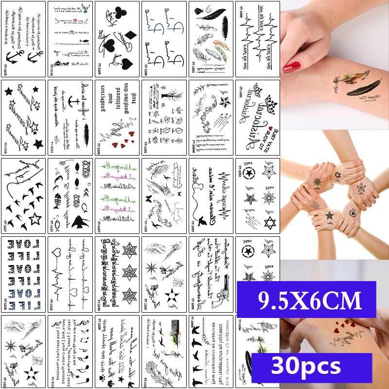 30pcs/set Waterproof Temporary Tattoo Sticker Cartoon geometric Cat Panda Water Transfer Fake Tatoo for Women Girl