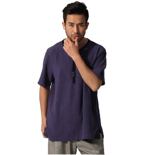G-как новый человек летнее китайское Изделие из хлопка с короткими рукавами белье Пальто кунг-фу O-воротник рубашки Taichi униформа
