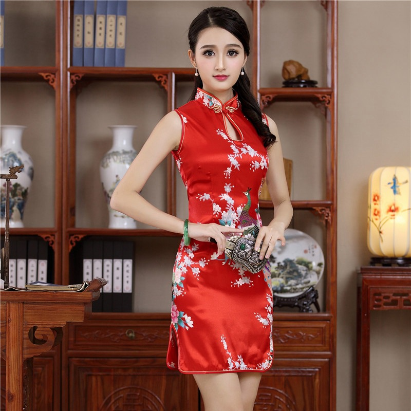 b2838762c Sexy Mini Chinese Women Sleeveless Qipao Mandarin Collar Evening Party Club  Dress Print Flower Cheongsam Vestidos S M L XL XXL ~ Premium Deal July 2019
