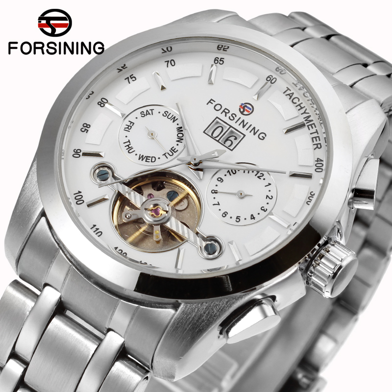 Forsining new Automatic men fashion tourbillon silver watch with stainless steel band shipping free FSG9404M4S2