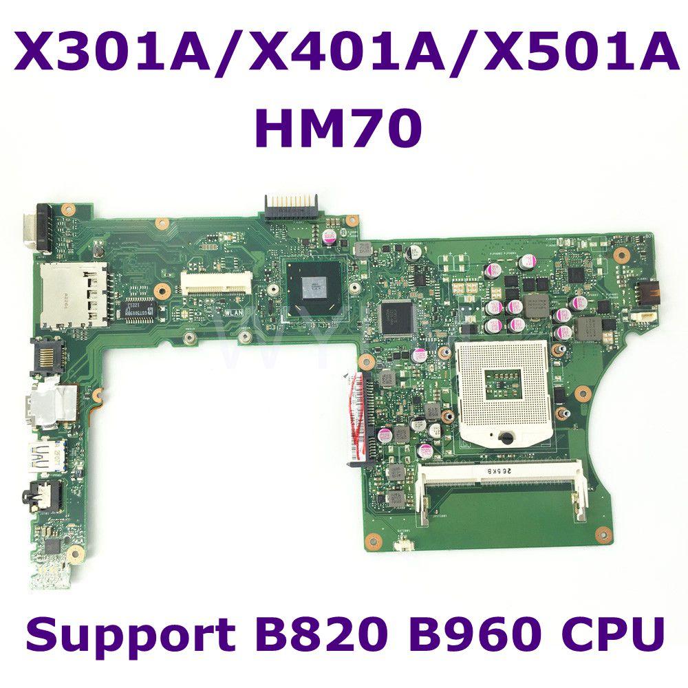 X501A SLJNV HM70 Apoio B820 B960 CPU Laptop motherboard mainboard Para ASUS X501A X401A X301A DDR3 PGA989 Testado Frete Grátis