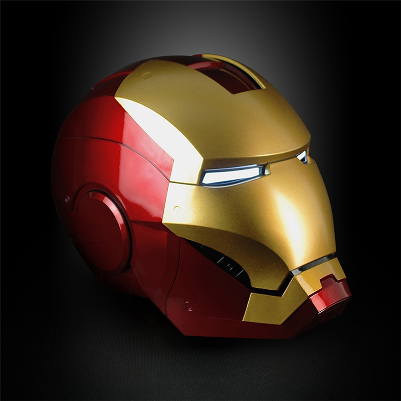 In Stock New Iron Man Cosplay Mask Iron Man Helmet PVC Figure Toy With LED Light Collection Model Size For Children