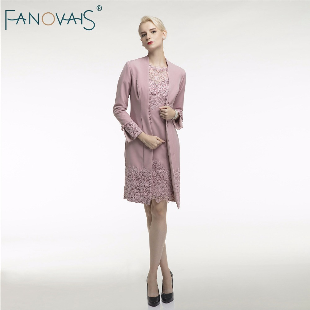 Lace Mother of the bride Dress With Jacket Knee Length ...