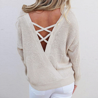 Autumn Women Knitted Sweaters Winter Sexy Backless Lace Up Sweater Fashion Pullovers Long Sleeve Loose Tops