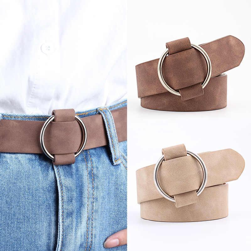 Nowe mody kobiet projektant okrągłe dorywczo panie pasy do dżinsów modelowania pasy bez klamry skórzany pas cinturon mujer N002