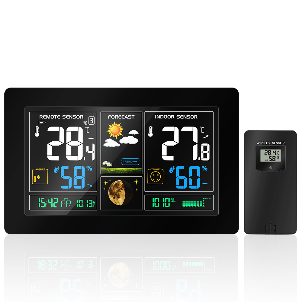 EU Plug Wireless Weather Station Temperature Humidity Sensor Colorful LCD Display With Weather Forecast DCF Radio contraol Time