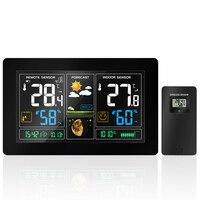 PROTMEX EU Plug Wireless Weather Station Temperature Humidity Sensor Colorful LCD Display Weather Forecast Radio Contraol
