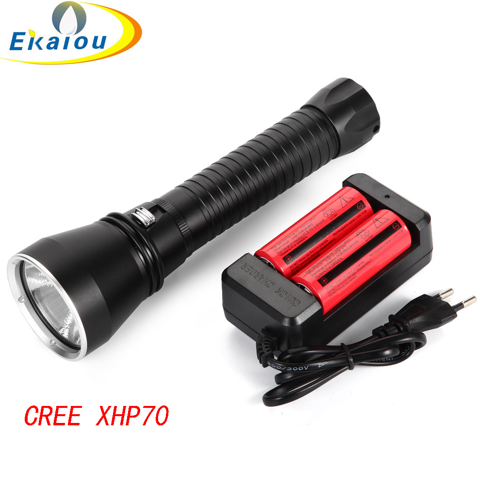 Super Brightness CREE XHP70 Waterproof 6000 Lumens Diving Flashlight Underwater 100M Tactical Torch & 2x26650 battery + charger ipx 8 waterproof tactical torch imalent dn35 usb rechargeable cree xhp70 2200 lumens led flashlight self defense 26650 battery