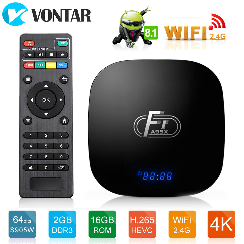 Android 8.1 2GB 16GB Amlogic S905W Android TV Box  Quad Core Suppot H.265 4K 2.4GHz WiFi SPDIF Media Player Set Top Box A95X F1Android 8.1 2GB 16GB Amlogic S905W Android TV Box  Quad Core Suppot H.265 4K 2.4GHz WiFi SPDIF Media Player Set Top Box A95X F1