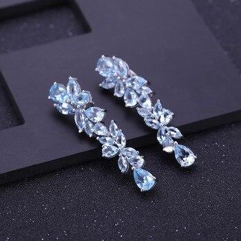 GEM'S BALLET 19.66Ct Natural Sky Blue Topaz Earrings 925 Sterling Sliver Leaves Gemstone Drop Earrings For Women Fine Jewelry