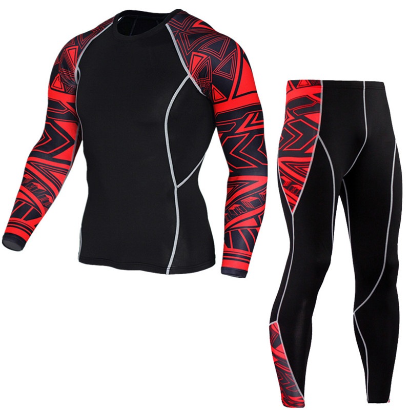 Men's Compression Run jogging Suits Clothes Sports Set Long t shirt And Pants Gym Fitness workout Tights clothing 2pcs/Sets 3