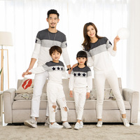 Spring Matching Family Clothing Embroidery Star Long Sleeve T Shirts Couples Sweater T Shirt Dad Mom
