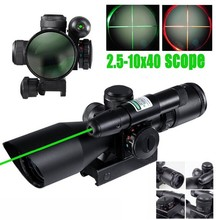 2016 Tactical Compact Laser Riflescope 2.5-10X40 Riflescope Illuminated Tactical Riflescope with Green Laser Hunting Scope air telescopic gunsight riflescope tri 1 4x24 e rail red green illuminated tactical optics hunting shooting rifle scope