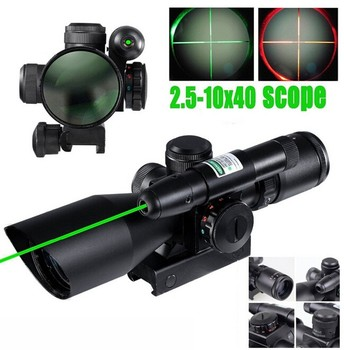 2016 Tactical Compact Laser Riflescope 2.5-10X40 Illuminated with Green Hunting Scope