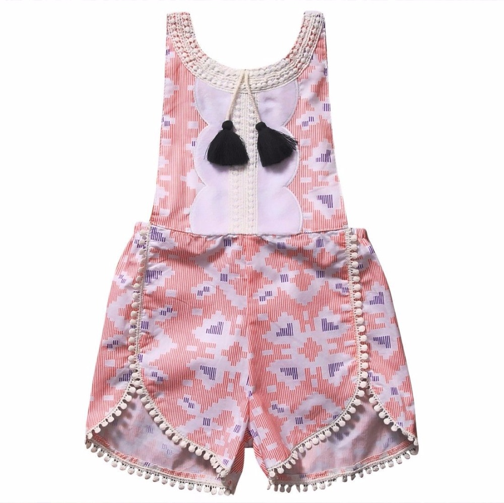 Infant Baby Girls Clothes Suspender Print Romper Sleeveless Pink Jumpsuit Bebe Kid Girls Clothes