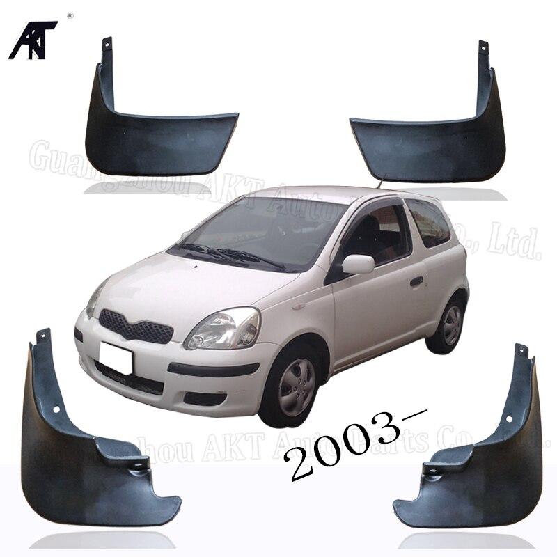 블랙 프론트 & 리어 머드 펜더 플랩 스플래시 가드 머드 플랩 머드 가드 커버 트림 for toyota vitz 2003-on mud flap