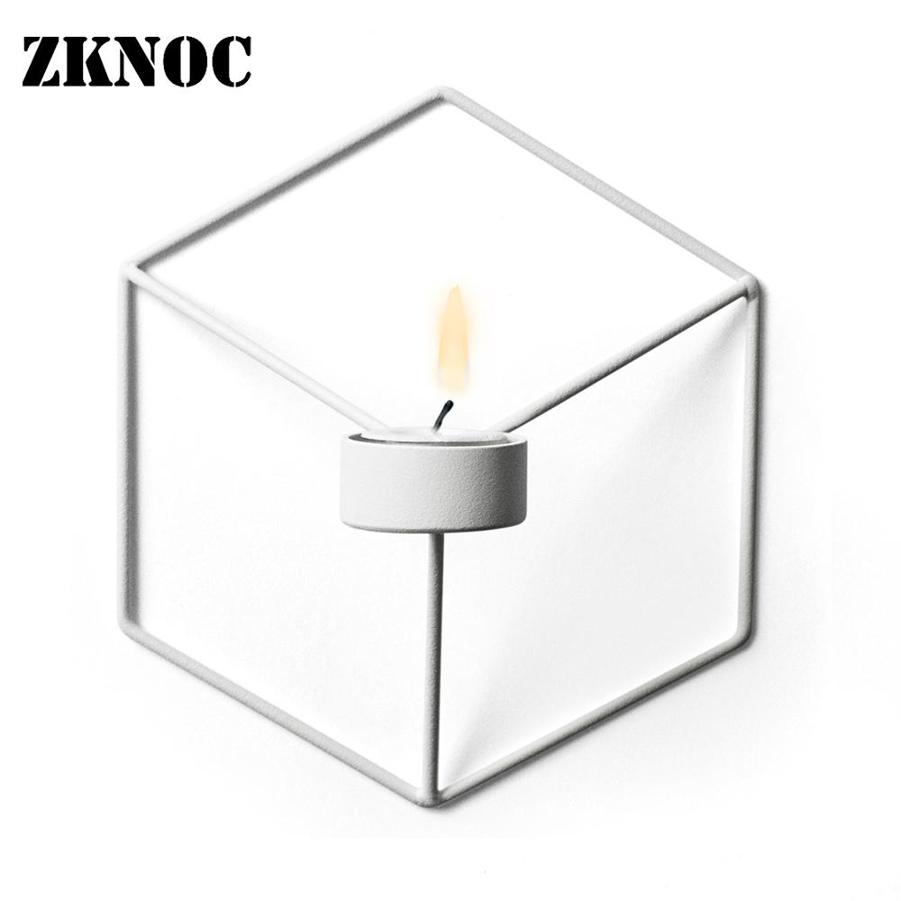 Creative Wall Candle Holder Shelf 3D Geometric Iron Metal ... on Metal Candle Holders For Wall id=82712