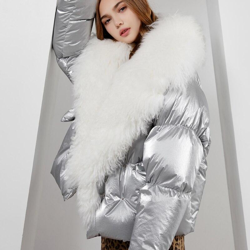 本物のモンゴルの羊の毛皮の襟冬の女性のジャケット女性暖かいルースホワイトダックダウンジャケット冬のジャケットの女性ダウンパーカー IOW Health Lagabogy
