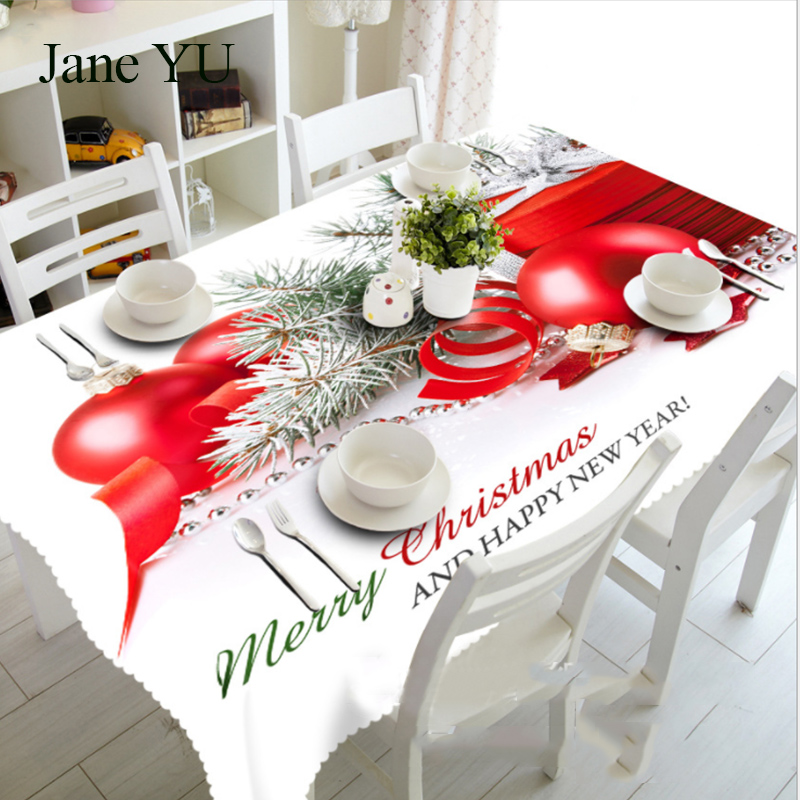 JaneYU Pine branches Christmas fruit dust-proof bedside table cloth 3D tablecloth mat environmental protection tasteless