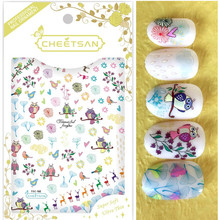 Newest TSC-182 3d nail sticker back adhesive design wraps for DIY decoration stickers