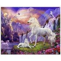 White Horse World 5D Square Diamond Embroidery Rhinestone Wall Stick Diamond Pattern Painting Cross Stitch Home