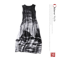 Silk linen sleeveless Chinese style loose plus size a line dress 2018 new runway high quality office lady women summer dress
