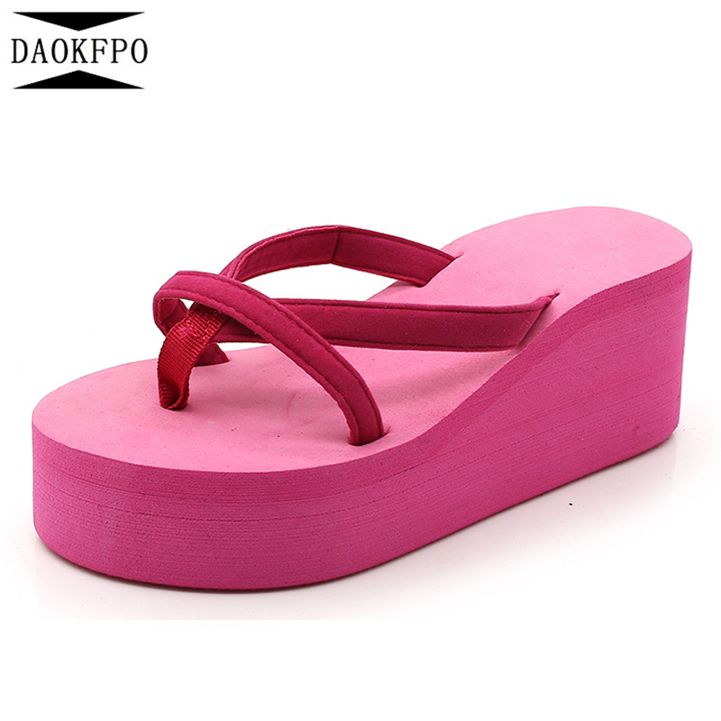 DAOKFPO Platform Sandals Women High Heel Zapatillas Summer Shoes Fashion Straped Slippers Beach Flip Flops Solid Slides Women 04