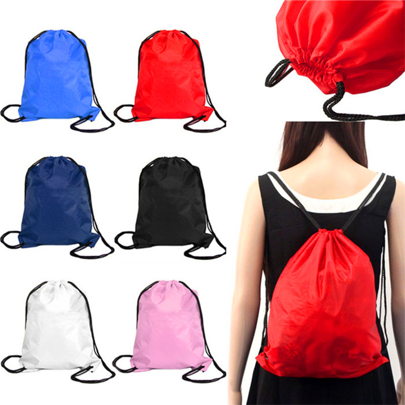 Hot Sports Colorful Canvas Beach Bags Drawstring Bucket Bag Outdoor Sports Swimming Bags Backpack Pocket Bag