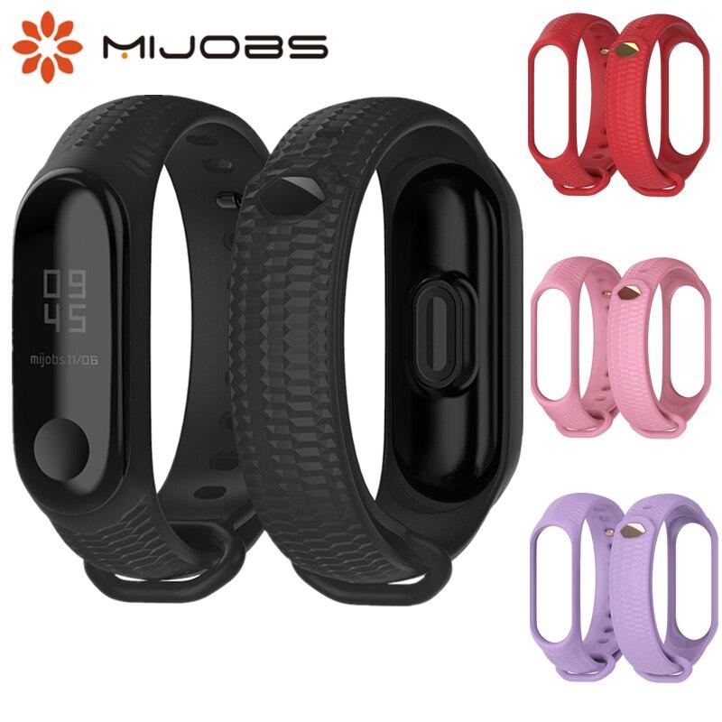 Mijobs New Design Silicon Wrist Strap For Xiaomi Mi Band 3 Accessories Mi Band 3 Bracelet TPU Non-slip Wristband Miband 3 Sport