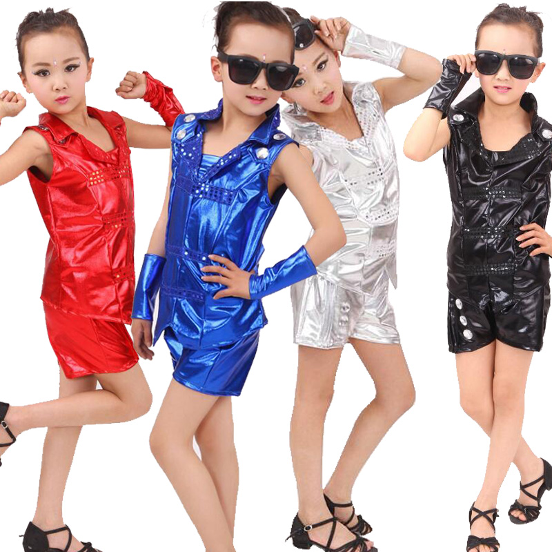 Bright Kids Jazz Dance Costumes tops+Pants Boys Modern Hip Hop Competitions show Dresswear Kids Party Stage show dance Outfits