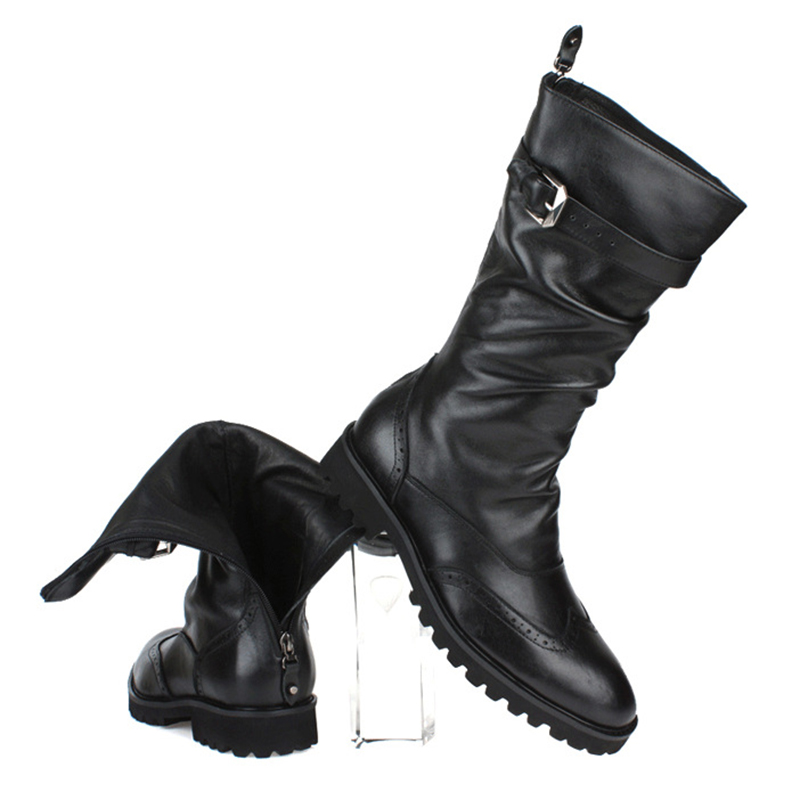 New 2017 Fashion Winter Designer Cowboy Mens Black Genuine Leather Tall Buckle Boots Knee High Military Outdoor Boots