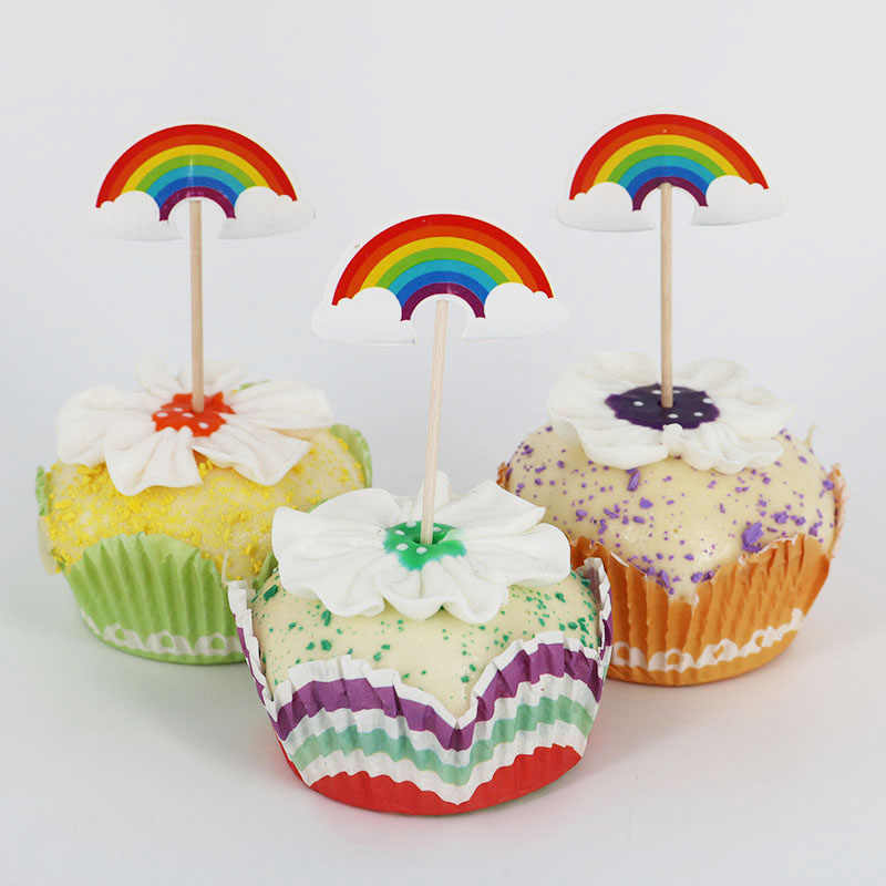 Detail Feedback Questions About 24pcs Lot Rainbow Theme Cupcake Cake Topper For Family Baby Shower Birthday Party Baking Decoration Supplies On