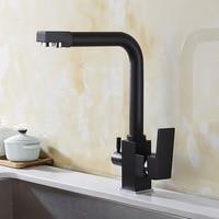 Kitchen Faucets Brass Ceramic Black Basin Faucet Square Dual Handles Dual Holes Sink Mixer Tap Hot