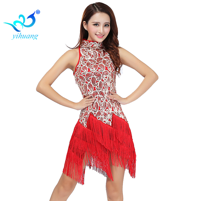 Ladies Latin Salsa Rumba Ballroom for Dancing Dress Outfits Performance  Stage Show Sequins Fringe Party Cocktail 22538c64a78a