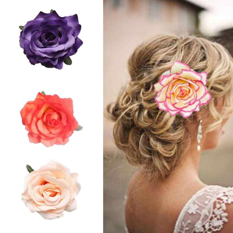 Artificial Rose Flower Hair Accessory Flower Crochet Headband Princess Party Baptism Shower Women Headdress Dress Accessories