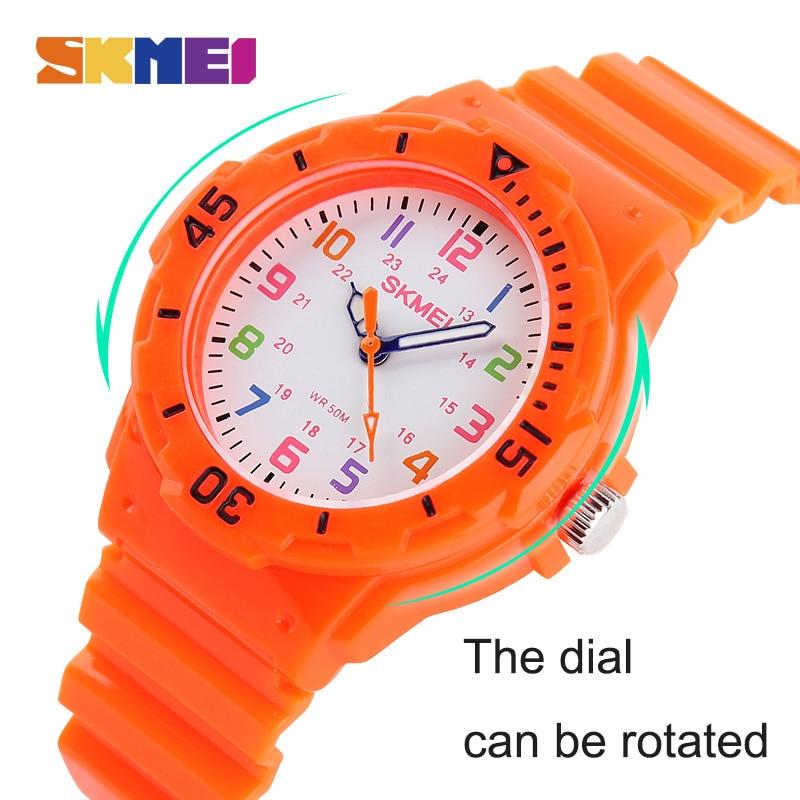 SKMEI New Cute Children Quartz Watch Multi-color Red Green Blue Orange Wristwatch Waterproof Boy Girl Digital Gift Clock