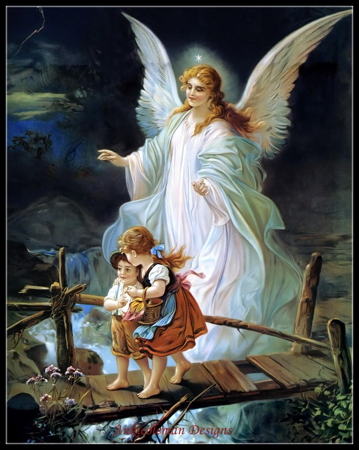 Needlework for embroidery DIY DMC - Counted Cross Stitch Kits 14 ct Oil painting - Guardian Angel And Children Crossing Bridge