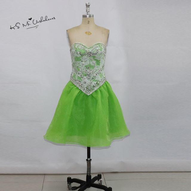 Vestido de Festa Curto Green Lace Short Prom Dress Knee Length Imported Party  Dresses Beaded Plus Size Homecoming Dress Crystals 435e0562cbc5