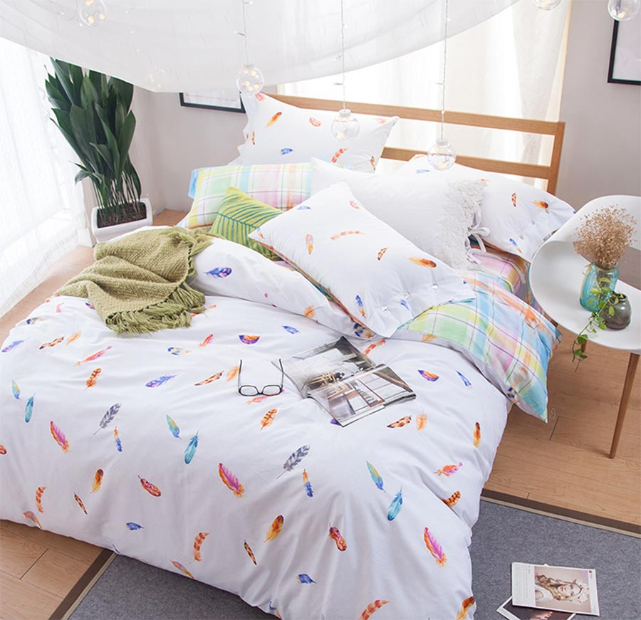 colorful feather bedding set adult teen full queen king double home