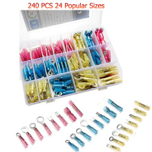 240pcs Heat Shrink Wire Connectors Wire Terminals Waterproof Marine Automotive Electrical Terminals Butt Connectors Assortment 144pcs 2 8mm electrical connector automotive motorcycle brass bullet connectors terminals repair kits with insulation covers