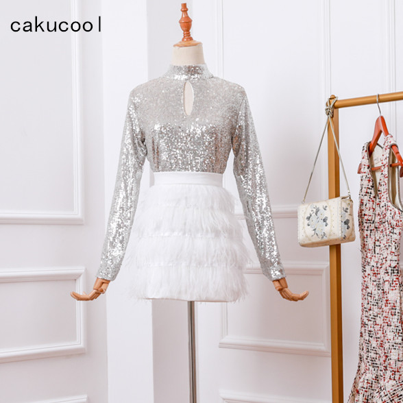 Cakucool New Women Silver Sequins Long Sleeve Top White Feather Tassels Skirt 2 piece Set Spring Bling Luxury 2pc Outfits Femme