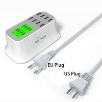 Cargador de pared USB portátil de 8 puertos cargador inteligente US EU adaptador USB enchufe con pantalla LED para iPhone Samsung Huawei