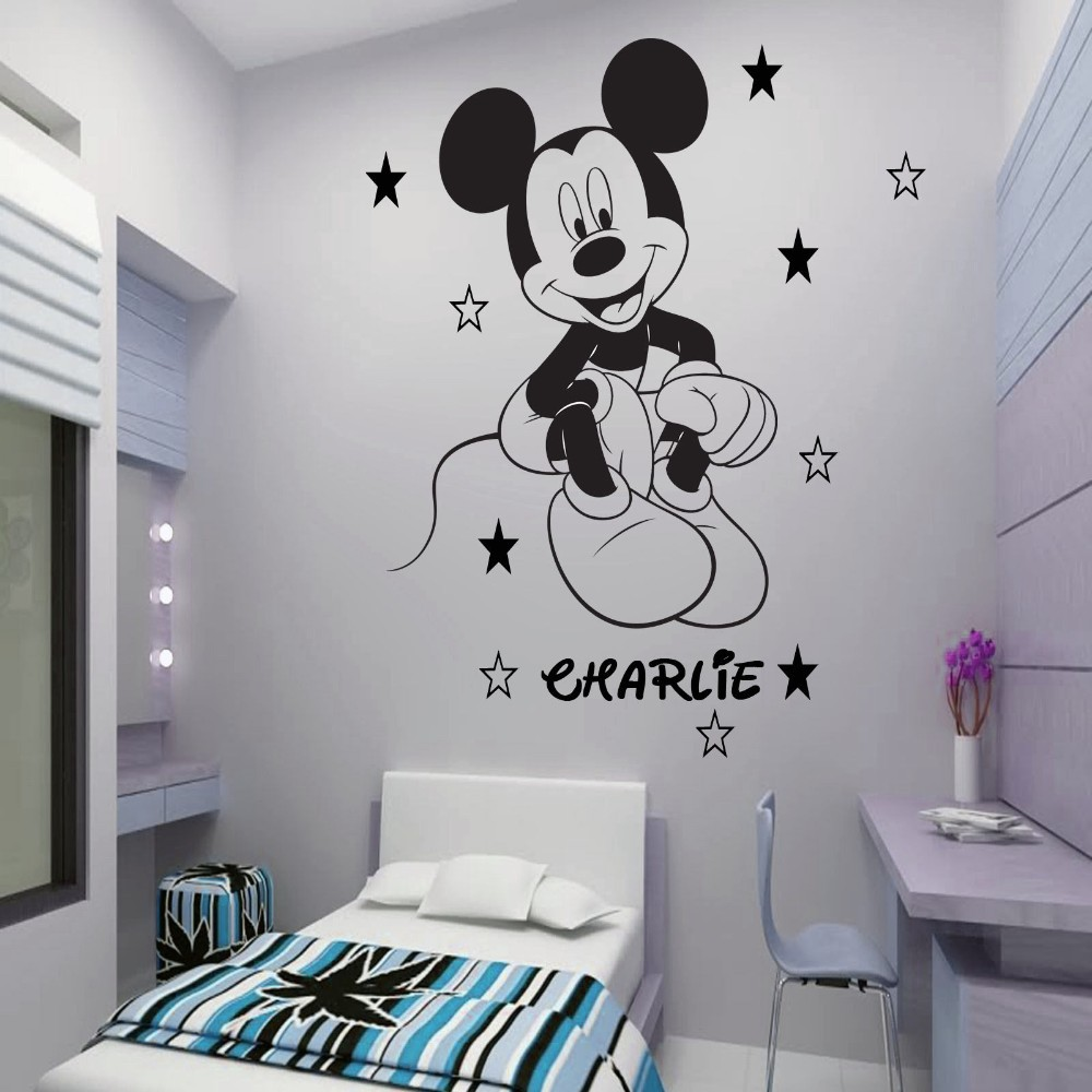 Updated Vinyl Mickey Mouse Wall Mural Custom Any Name With Stars Boys  Wallart Pegatina For Children Rooms Free Shipping In Wall Stickers From  Home U0026 Garden ...