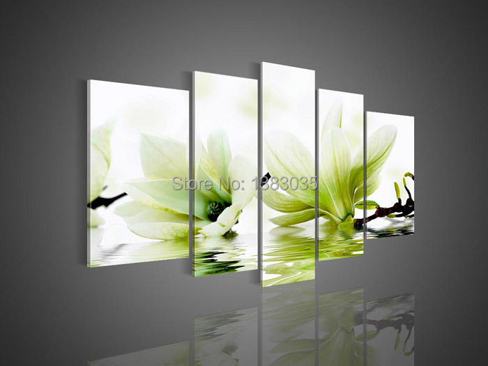 Handmade Modern Green Magnolia Flower Painting On Canvas 5 Piece ...