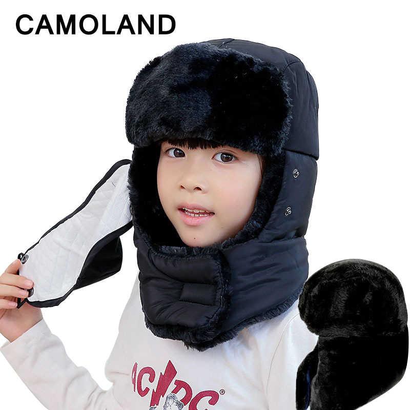4145b9747bf Winter Bomber Hats Kids Trapper Trooper Russian Badge Earflap Balaclava  Face Mask Girls Boys Family capSnow