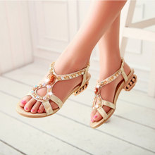 2016 sheepskin summer sandals thick with fish head peep toe  lady shoes Genuine leather ankle strap sandals women shoes AA519