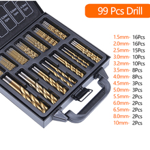 99PCS HSS Twist Drill Bit Set 1.5-10mm Titanium Coated Surface 118 Degree For Drilling Metal DIY Home Use With Box