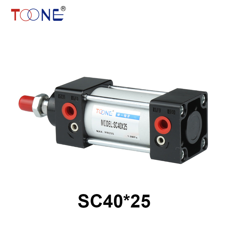 Free Shipping 40mm Stroke Single Thread Piston Rod SC40 x 25 Dual Action Pneumatic Cylinder 40mm Bore