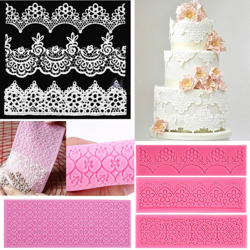 Hot Silicone Lace Mold Mould Sugar Craft Fondant Mat cake ...
