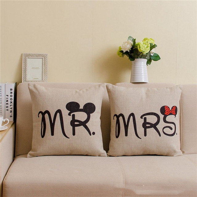 Mr Mrs Knitted Cushion Cover Couples Cotton Linen Decorative Stunning Mr And Mrs Decorative Pillows